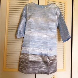 3/4 Sleeve silver and Blue Silk Dress